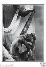 Vogue Art Poster/Print/Woman with a Harp/13x19 inch /B/W Vintage Reproduction