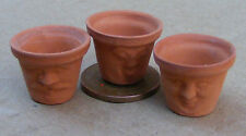 1:12 Scale 3 Terracotta Style Pots Dolls House Miniature Garden With Faces