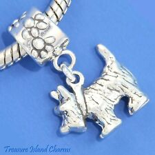 CAIRN TERRIER DOG TOTO 925 Solid Sterling Silver EUROPEAN EURO Dangle Bead Charm