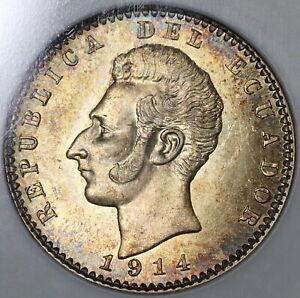 1914 NGC MS 64 Ecuador Silver 2 Decimos Philadelphia (20102404C)