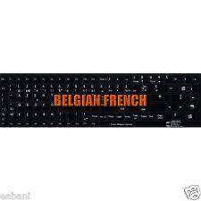 Touches AZERTY Autocollantes Clavier BELGE COMPLET Français Fond Noir