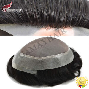 Human Black Hair Mens Toupee Hairpiece Mono Poly PU Hair Replacement System Wigs