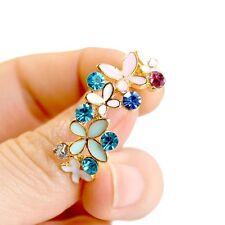 Cute Women Elegant Ear Stud Crystal Rhinestone Butterfly Earring1 Pair