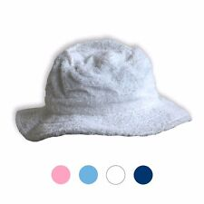 TERRY TOWELLING HAT TOWEL WASHABLE FISHING SUN BUCKET WHITE/NAVY/SKY/PINK