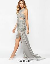 A Star Is Born Luxe Embellished Mesh Top Maxi Dress With Split Skirt £265 UK 12