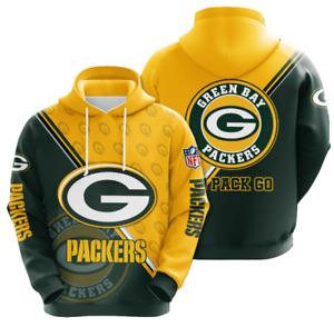 Green Bay Packers  Hoodies Mens Casual Sweatshirt Fans Football Pullover Jacket