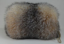 Real Crystal Fox Fur Handmuff New made in usa. Hand muff down satin lining