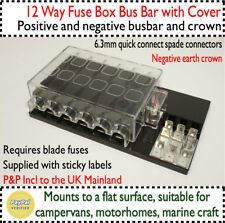 12 Way Fusebox Common Bus Busbar Fused 12v DC Distribution Auto Van Car Boat