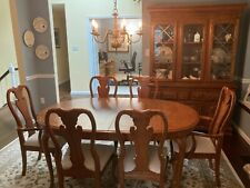 Formal Dining Room Set , Table with 2 Leaves, 6 Chairs, China Cabinet