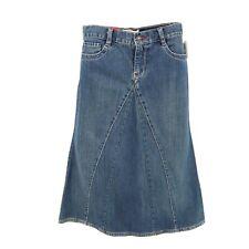 Gap Jean Skirt A-Line Midi Girls Sz 12 Blue Cotton Blend Denim Zip Closure NWT
