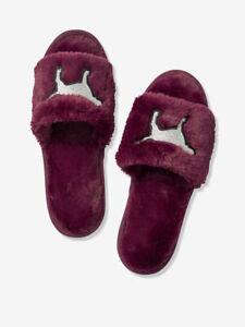Vs Victorias Secret Pink Open Toe Slipper Shoe Slide Sandal Luscious Plum M 7/8