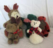 Lot of 5 Boyds Bears Reindeer Bear Snowman Reindeer Red and Green Bears