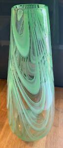 "Vintage large 16"" tall Hand Blown Studio Art Glass Vase lime Green Swirl Italy"