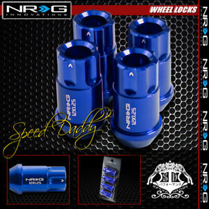 "FOR SUBARU IMPREZA/NISSAN 240SX BLUE 4 X NRG M12X1.25 1.75"" L LUG NUT LOCK"