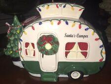 New! Blue Sky Santa'S Camper Christmas Cookie Jar Rv Tiny House Motor Home