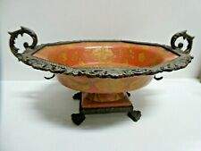 CHINESE POTTERY CAST BRONZE POTTERY COMPORT BOWL STAMPED WL 1895 WONG LEE