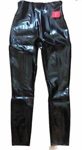 NWT SPANX FAUX PATENT LEATHER Leggings Pants Black Shine size S M or L Shiny Fun