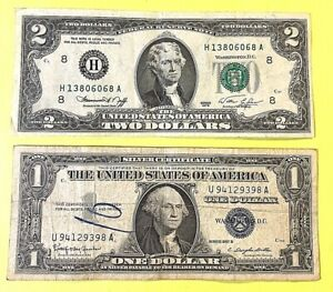 $1 1957 B SILVER CERTIFICATE & 1976 $2 BILL YOU GET BOTH SEE PHOTOS FOR GRADE