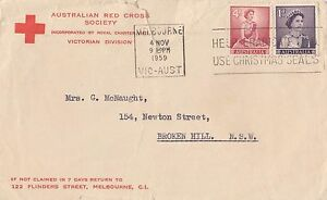 Stamps 1d violet & 4d red QE2 on 1959 on Australian Red Cross Society cover