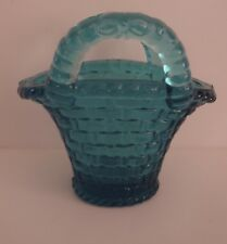 Vintage blue glass basket with handles/woven pattern