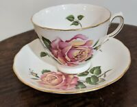 Vintage Royal Vale Bone China Roses Tea Cup & Saucer Numbered and signed England