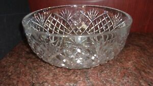 "Signed Vintage Waterford Deep Cut Crystal 10"" Bowl HandMade Republic of Ireland"