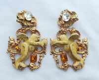 VINTAGE LUNCH AT THE RITZ ENAMEL DANGLE CLIP EARRINGS GOLD TONE WITH RHINESTONES