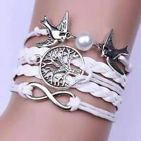 Multilayer Peace Bracelet with Tree of Life Infinity Dove Charms