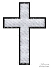 CHRISTIAN CROSS iron-on PATCH embroidered WHITE BLACK CRUCIFIX JESUS BIKER new