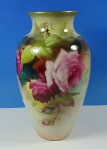 "Royal Worcester Hand Painted Roses A. Lewis 7.25"" Vase c.1911 Stapled Repair"