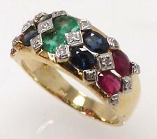 14K YELLOW GOLD GENUINE RUBY EMERALD SAPPHIRE & DIAMOND BAND RING SIZE 7