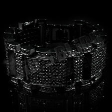 Jet Black Out Iced MicroPave Simulated Diamond Hip Hop Men Adjustable Bracelet 1