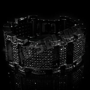 Jet Black Out Iced MicroPave Simulated Diamond Hip Hop Men Adjustable Bracelet 1