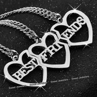 Xmas Gifts For Her - 3 Part Matching Silver Heart Necklaces Best Friends Sisters