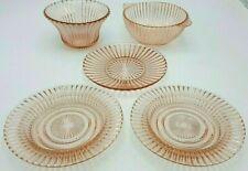 Vintage Depression Glass Pink Queen Mary Pattern Prismatic Line Vertc. Rib  👀