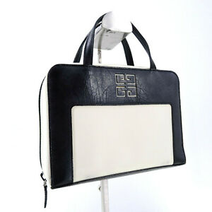 Givenchy Canvas & Leather Mini Top Handle Grab Bag in Black/White Made in Spain