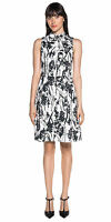 BNWT CUE City Monochrome Floral Dress with Collar Sz 6 8 12 14 RRP$229