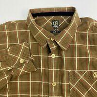 Cavi Button Up Shirt Mens 2XLl Brown Plaid Long Sleeve Casual