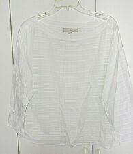 LOFT LADIES WHITE LS PULLOVER LOOSE RAYON/COTTON TOP-M-NWOT-TEXTURED LINES-NICE