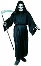 Halloween Mens Grave Reaper Fancy Dress Costume Outfit Robe, Mask & Gloves New p
