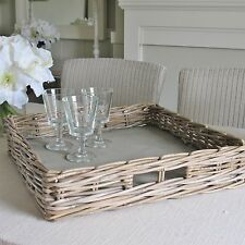 Wicker Square Serving Tray Large Grey Wash Rattan has Handles SECONDS was £29.99