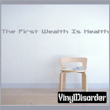 The First Wealth Is Health Wall Quote Mural Decal-homegymquotes07