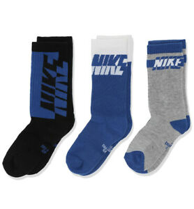 Nike Youth Everyday Cushion Crew Socks Small Blue 3 Pair 3Y-5Y
