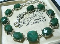 Sterling Silver Real Emerald Gem Stone Large Link BRACELET UK Hallmarked