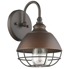 1-Light Bronze Bath Sconce Light Mid-Century Modern Cage Industrial Vintage-like