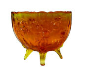 '60's Fenton Glass Colonial Orange Embossed Roses Pattern four footed  Oval Vase