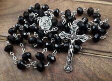 Catholic Rosary Cross Necklace Black Crystal Beads Holy Madonna Medal Jerusalem