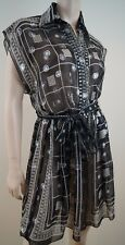 ANNA SUI Black Cream & Silver Embroidery Sheer Silk Mix Summer Dress US4; UK8