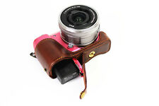 Coffee Leather Camera Bottom Case Half Cover For Sony Alpha a5100 or a5000 New