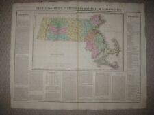 HUGE FOLIO ANTIQUE 1825 MASSACHUSETTS CAREY & LEA BUCHON HANDCOLORED MAP BOSTON